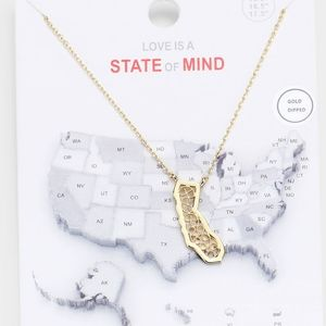 Gold CALIFORNIA Pendant Necklace State Map Chain